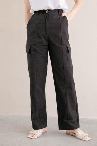 HANNAH KR DOUBLE POCKET 170CM PANTS IN BLACK