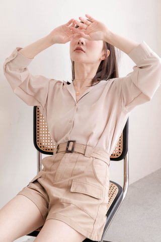 RAINIE KR BASIC COLLAR SHIRT IN MILK TEA (NG SALES)