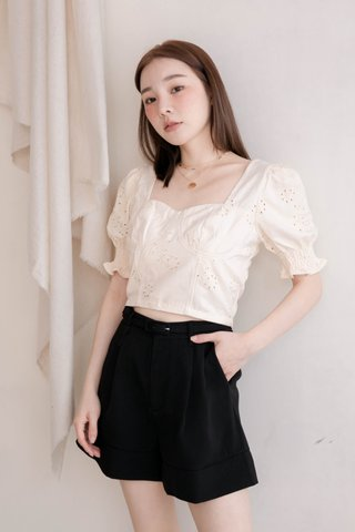 THE BUTTERS KR FRENCH EYELET TOP IN BABY BUTTER (NG SALES)