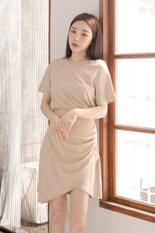 BUT LITTLE BUN KOREA -5KG ASYMMETRICAL DRESS IN MILK TEA