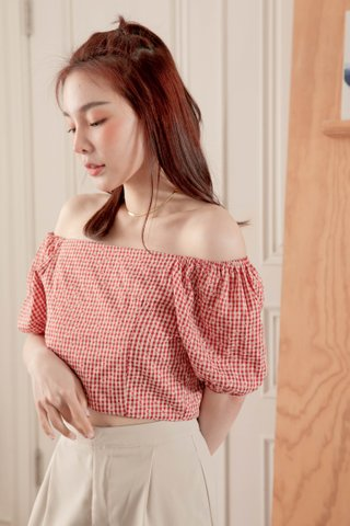 BUTTER TOAST KR DAISY CHECKERED 2WAYS TOP IN HONEY RED