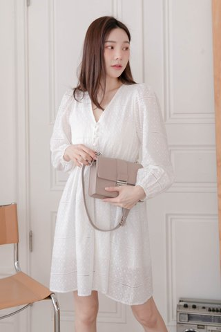 BUTTER BAKERY KR EYELET DRESS IN WHITE