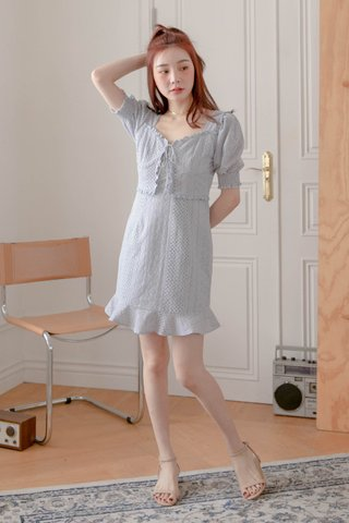 HONEY BAKED KR EYELET DRESS IN BABY BLUE