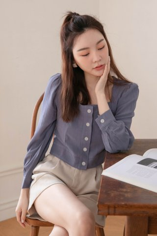 SOOH KR SQUARE NECK TOP IN BLUE