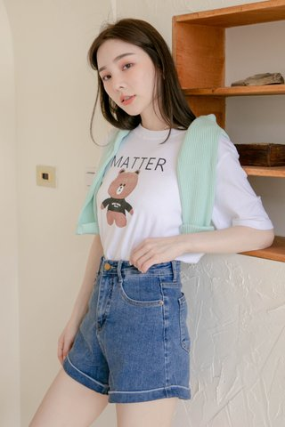 (BACKORDER) HONEY LOVE KR ' MATTER ' BEAR TEE IN WHITE