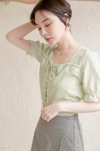 HONEY LOVE KR SQUARE NECK TOP IN AVOCADO