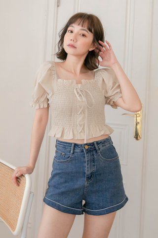 HONEY LOVE KR RUFFLED FRENCH TOP IN DUSTY OLIVE