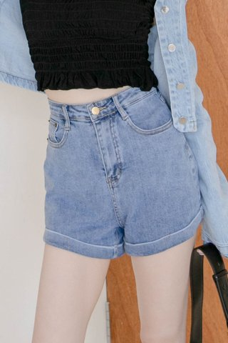 HONEY LOVE KR 365 DAYS WASHED DENIM SHORTS IN DUSTY BLUE